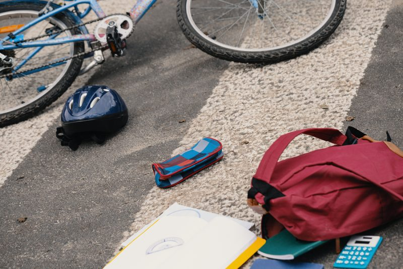 Child's backpack after auto accident